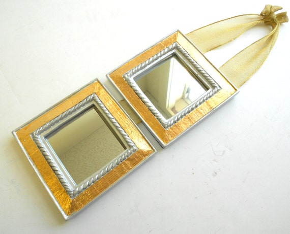 3x3mirrors decorative mirrors small wall mirrors by for Small gold framed mirrors