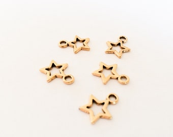 20 Tibetan Charms Gold Star Charm Small Star Pendant Antique Gold Color Brass Finish Jewelry Making Supplies Findings Star Wholesale lot