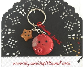 Ready to Ship Polymer Clay Solar System Kawaii Mars Planet and Gold Star Key Chain