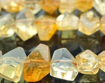 A grade 15.5 inches  Natural Citrine faceted Nugget Chunks beads in in 9-12 wide X 15-20mm length