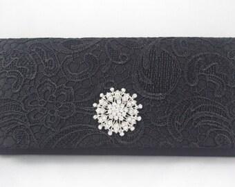Black Lace Clutch, Lace Wedding Handbag, Black Lace Bridesmaid Clutch, Black Evening Bag, Crystal Black Clutch Bag, Vintage Inspired Clutch