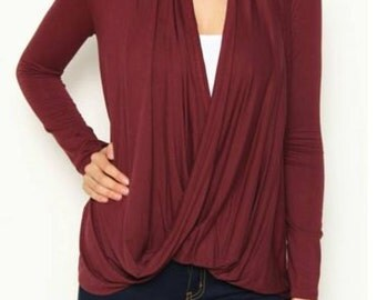 Burgundy Twist Top with Lace Back