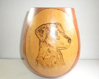 Gourd With Hand Painted Dog
