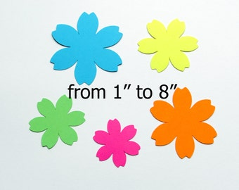 "Paper Flowers/ Bright colors South beach / paper flower die cuts/ 25pc set / from 1""- 8""/ wedding flowers/ party flowers/ Hawaii flowers"