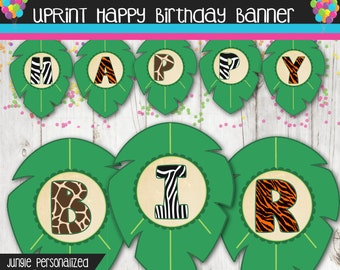 Safari Happy Birthday Banner with name - Jungle Birthday Banner - Personalized - Custom