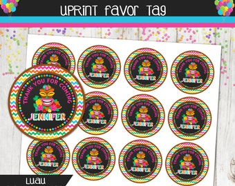 Luau Hawaiian Party Favor Tag - Thank You Tag - Pool Party - Birthday - Personalized - Printable - Summer Party