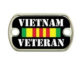 Vietnam Veteran 2 Holes Stainless Steel Mini Dog Tag For Paracord Bracelets