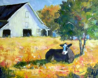 Cow barn country landscape original oil painting 18x14, North Carolina   by Elaine Schulstad
