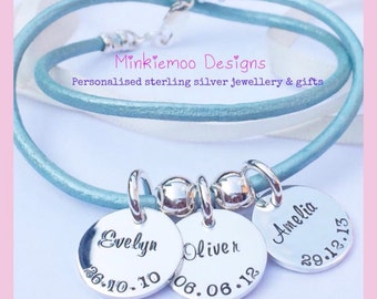 Leather wrap bracelet, personalised tags, everyday wear, new mummy, children keepsake, gift for her, christmas present idea, loved ones