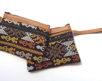 Sale! 25% Off - (Original Price 32.00) Tribal Design Wristlet, Upcycled, Eco, Ethical Fair Trade