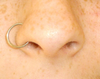 Fake sterling silver 925 Nose Ring Hoop Piercing Septum Ear Lip Eyebrow Earring single