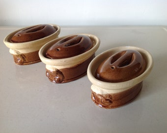 Vintage French La Bourguignon Set of 3 Individual Pate Terrines, Rustic French Terrines,Small Pate Bakers
