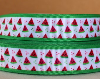 """7/8"""" Watermelon Ribbon Grosgrain Ribbon by the Yarf for Crafts, Hairbows, Summer Decor, or Gifts"""