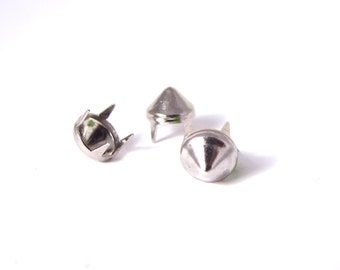 silver, 6mm multi-pronged garment cone studs - Bag of 100