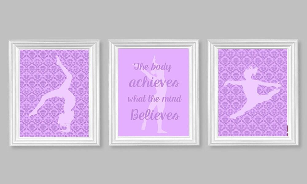 Gymnastics Wall Art Girl's Room Decor Purple Bedroom