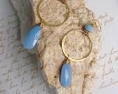 Oregon Owyhee Powder Blue Opal Gold Vermeil Earrings Hoop Earrings