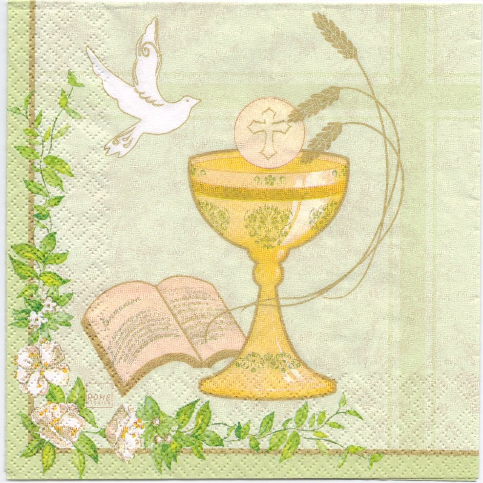 Decoupage Napkins Communion Chalice With Dove First