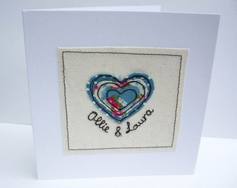 Personalised Wedding Card with Machine Embroidered Heart - Paper Handmade Greeting Card - Wedding Anniversary Card