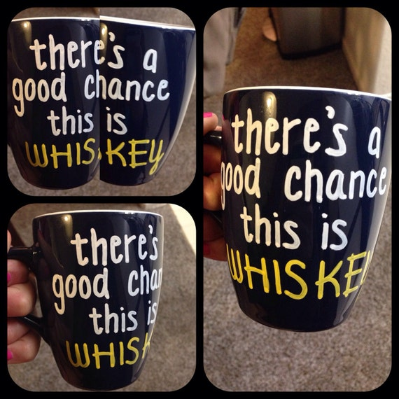 There's a chance this is whiskey mug Hand painted mug • One of a kind • Please specify color mug and paint you would like in your order :)