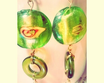 GreenLight bead and wire earrings