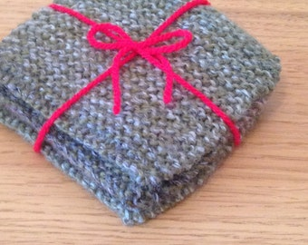 Hand knitted mug coasters, set of 4 *back in stock*
