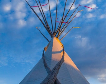 Sunset Tipi - Montana Made Blank Greeting Card, 100% recycled paper
