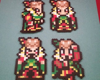 Final Fantasy VI/Final Fantasy III (US) perler bead sprite Kefka choose from 1 of 4 stances or get all 4, plain or magnet