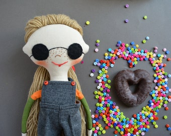 Cloth doll  in sunglasses-  Textile doll - Soft stuffed toy - Interior doll - White color hair - Rag doll - Toy for girls.