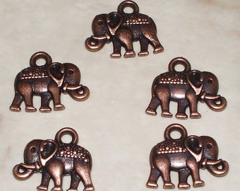 5 Antiqued Copper Elephant Charms