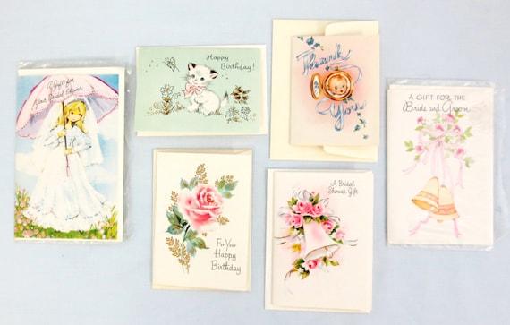 Set of 6 Vintage Assorted Gift Cards with Envelopes Bridal Wedding ...