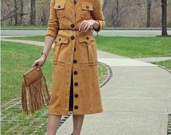 FREE SHIPPING / Suede coat with large pockets