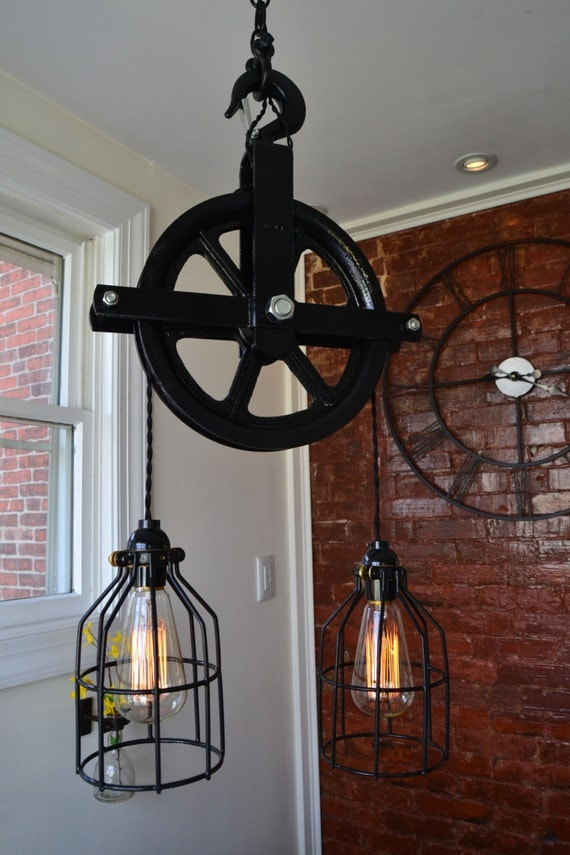 pulley lighting. industrial pulley light barn home decor ceiling country lighting a