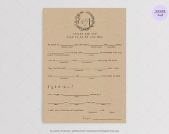 Love Note Wedding Mad Libs - Printable Digital File - Kraft Guest book alternative - Wedding guest libs - Marriage advice