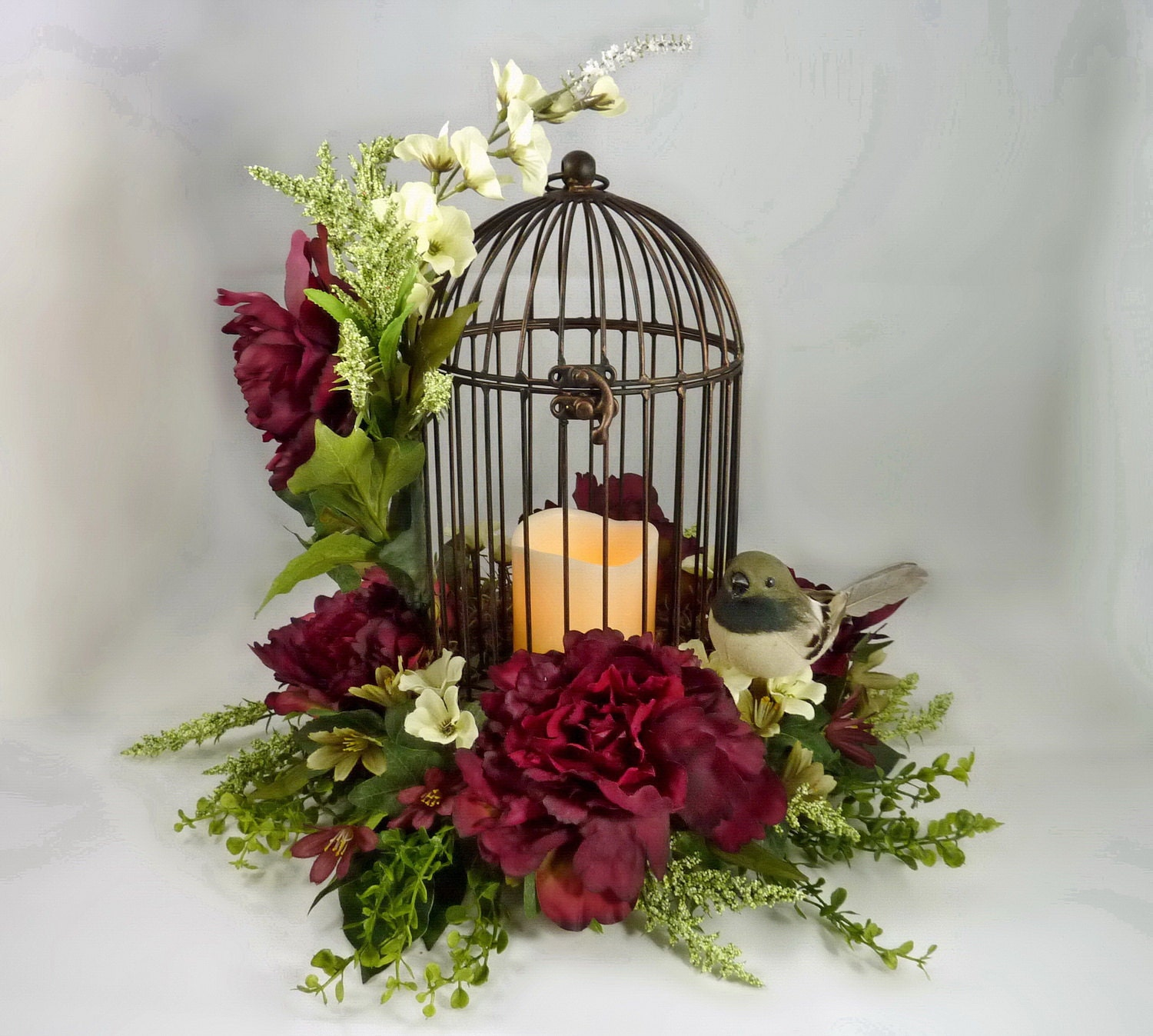 Bird Cage Floral Arrangement Flower Centerpiece Mothers Day