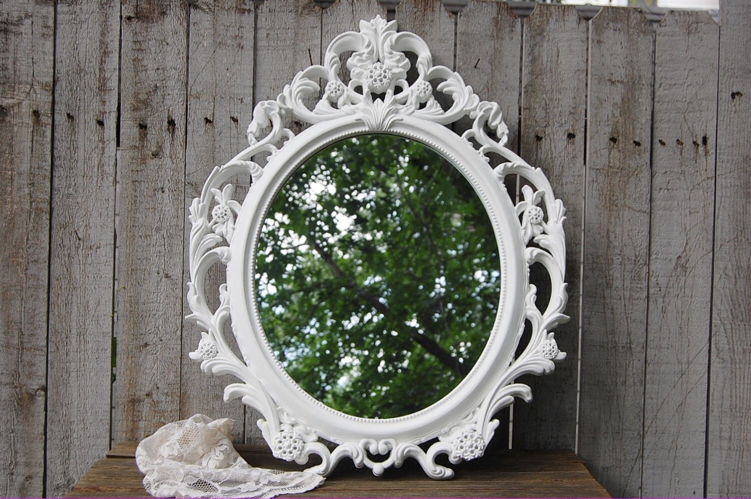 Wall mirror shabby chic baroque mirror white by for Baroque mirror canada