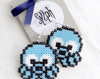 Light blue baby Octo(p)lus pixelated earrings in 8bit retro style made out of Hama Mini Perler beads