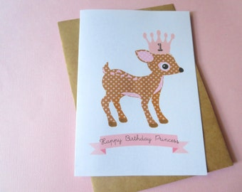 Whimsical Personalised Children's Happy Birthday Princess Age Card - C91