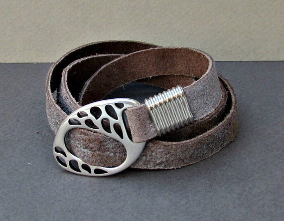 Men's Leather Bracelet, Wrap Bracelet Cuff, Unisex Bracelet, Adjustable to your wrist w01