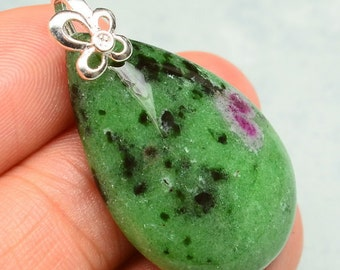 Gorgeous>>Natural Ruby Zosite Gemstone, Sterling Silver Pendant