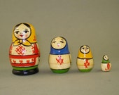 Vintage old mini set of 4 Russian Soviet Nesting Dolls - YOSCAR OLA  - USSR