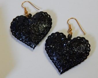 "1 1/4"" x 1 1/2"" Black Rose + Lace Heart Shape Goldtone Goth/Boho Earrings"