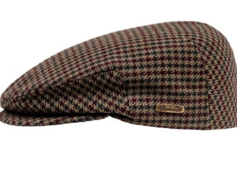 Classic Snap Bill Ivy League Cap Wool and 10% of Cashmere - dark green / rusty (claret) houndstooth