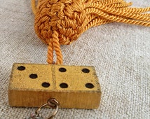 Modern pendant, vintage wooden Dominoes -1940s, tassel - 1970s, Jewelry, Pendant, Necklace, recycle upcycle, found object art, My wealth