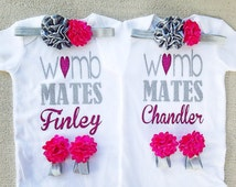 Womb Mates Twin Girls Outfit Set, NO SHED Glitter Twin Take Home Infant Outfit, Newborn Twin Baby Shower Gift, Twin Hospital Newborn Outfit