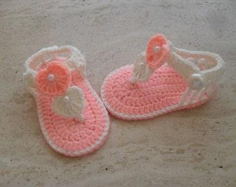 Crochet Baby Girl Sandals, Baby Sandals, Crochet  Baby Girl Shoes, Baby Girl Booties Size 3 to 6 Months Ready Made