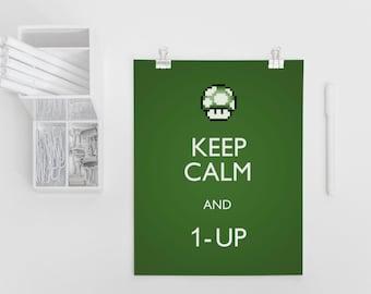 Super Mario Art Print 4x6, 5x7, 1-up, Video Game Art Print, Geekery, Keep Calm, Wall Art, Gamer Room Decor, Nintendo Art