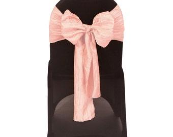 Blush Crinkle Taffeta Chair Sashes (Pack of 10) | Wedding Chair Sashes