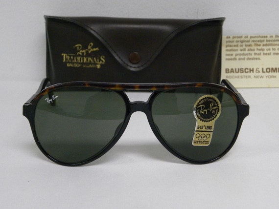ray ban style a  new vintage b&l ray ban traditionals style a black tortoise g 15 l1668 aviator sunglasses