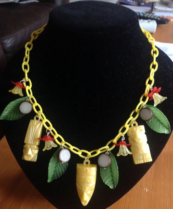 Tiki Kitsch celluloid 1940's 50's necklace vintage inspired handmade by VivaLaLux