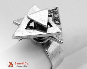 Unique Geometric Trianglar Spinning Ring Sterling Silver CZ